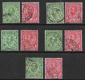 1911 King George V Downey Head Stamp Set of 10 Used SG321-350